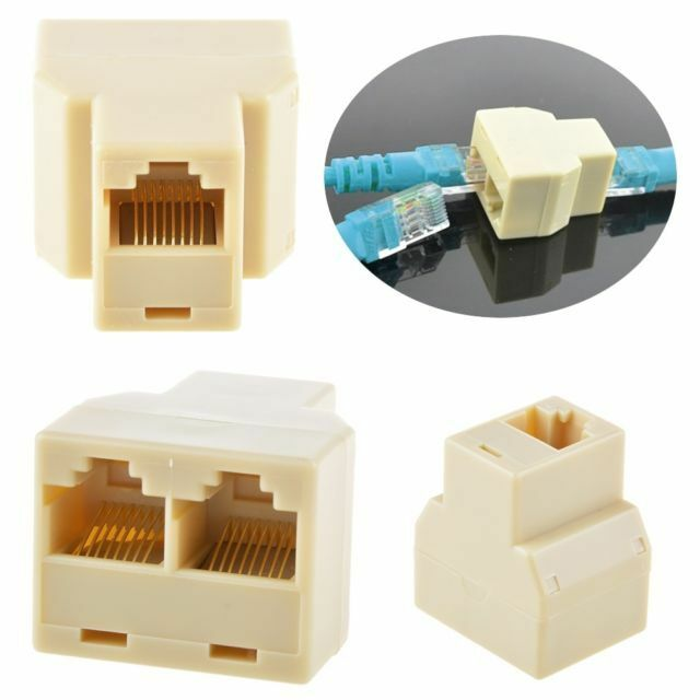 5Pc RJ45 Splitter Adapter 1 to 2 Ways Dual Female Port CAT5/6 LAN Ethernet Cable