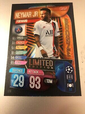 Match Attax EXTRA 19//20 Champions-NEYMAR JR Silver Limited Edition-Comme neuf