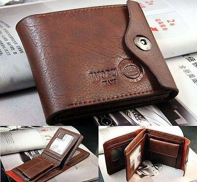 New Mens Leather Bifold ID Cards Holder Coin Pocket Bag Slim Purse Wallet Clip