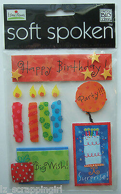 ~HAPPY BIRTHDAY~ Soft Spoken Dimensional Embellishment Stickers; SURPRISE PARTY