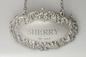 VINTAGE-STERLING-SILVER-SHERRY-DECANTER-LABEL-HALLMARKED-AC-amp-SONS-LONDON-1973