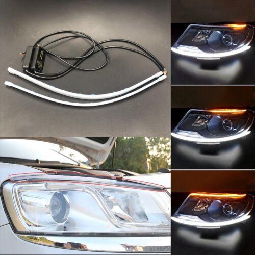 2X60CM Car Flexible Slim side LED Knight Rider Strip Light DRL Sequential
