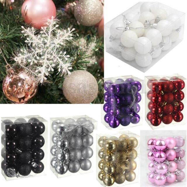 Black Christmas Balls.24pcs 3cm Christmas Decor Glitter Christmas Balls Baubles Xmas Tree Hanging Prop