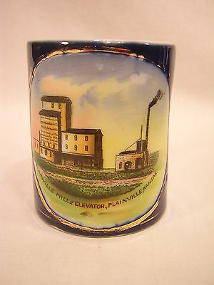 Germany Souvenir China PLAINVILLE, KANSAS Cobalt Mug ~ Mill & Elevator