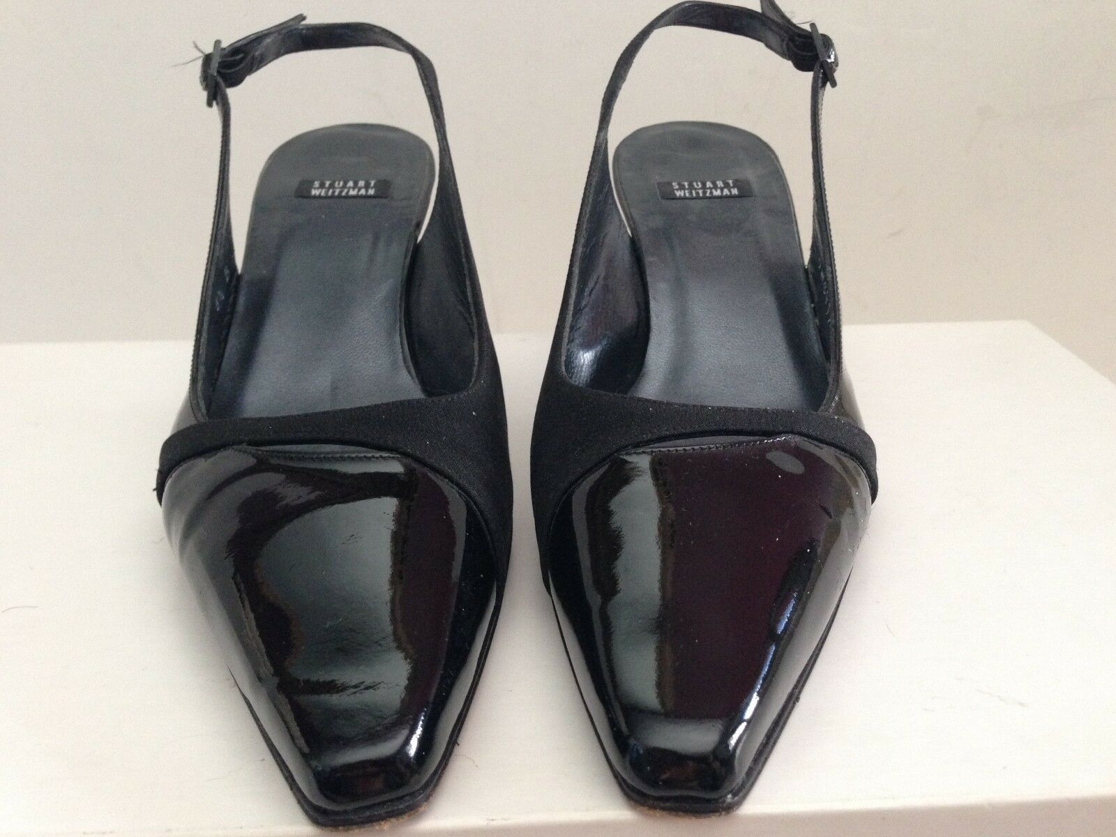 STUART WEITZMAN BLACK PATENT LEATHER POINTED TOE HEELS SIZE 6.5