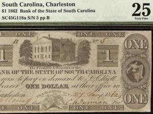 1862-1-LOW-ONE-DIGIT-SN-SOUTH-CAROLINA-BANK-NOTE-CIVIL-WAR-PAPER-MONEY-PMG-25