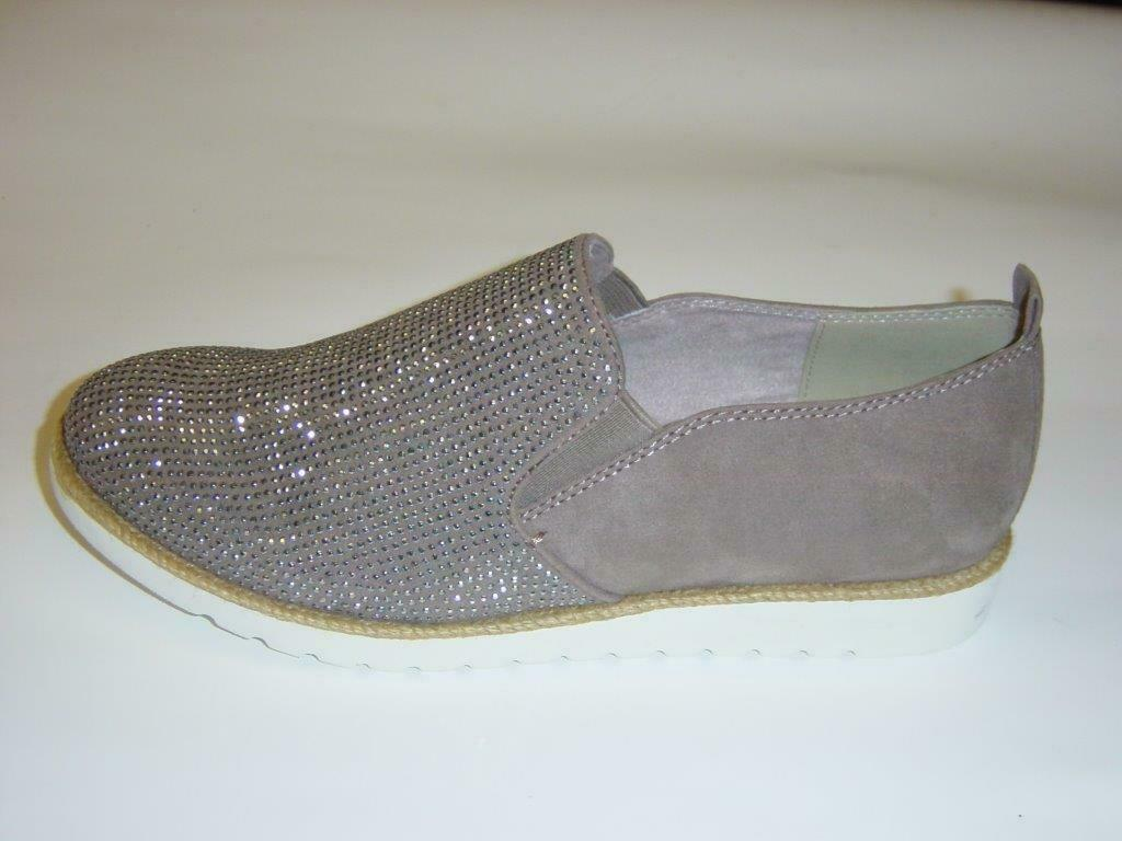 Jana Slipper   taupe (beige gris)   paillettes   Strass   Largeur H   Taille 39