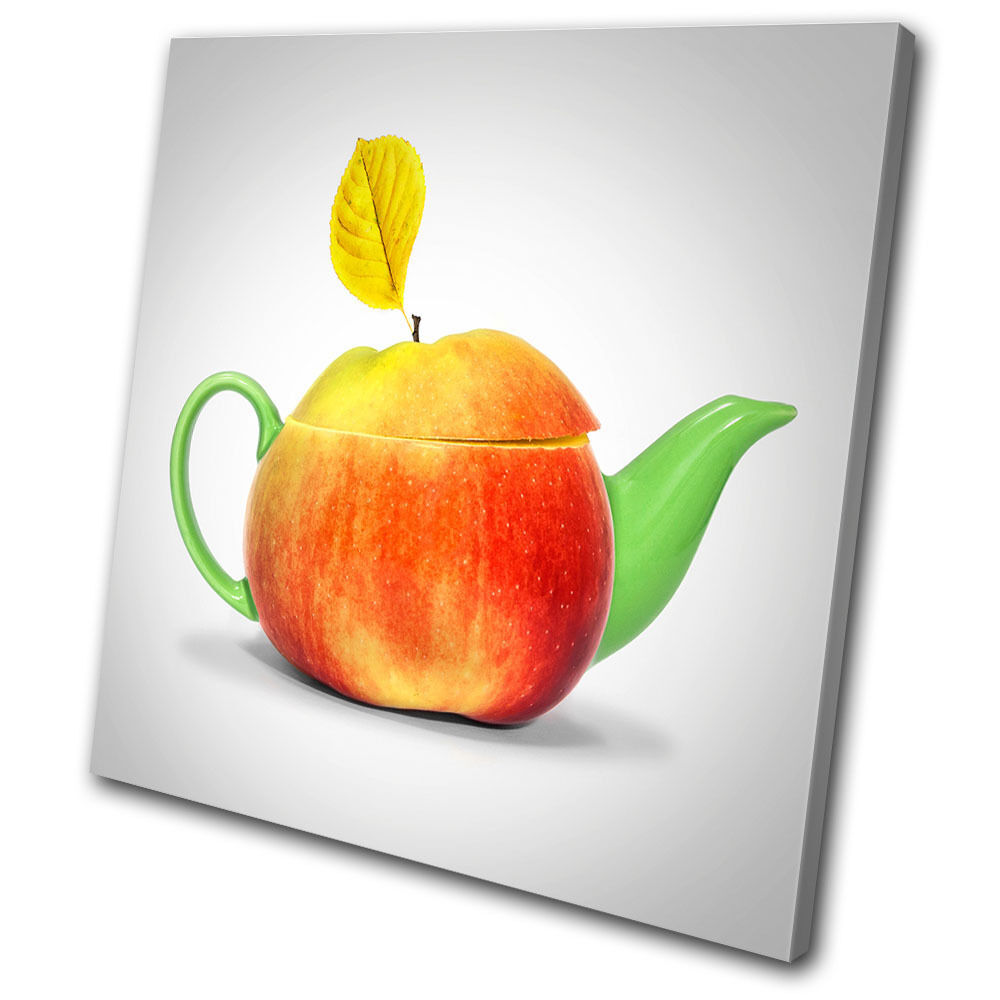 Food Kitchen Apple Tea pot  SINGLE TOILE murale ART Photo Print