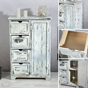 sideboard im shabby chic 4 schubf cher badschrank regal schrank dielenschrank. Black Bedroom Furniture Sets. Home Design Ideas