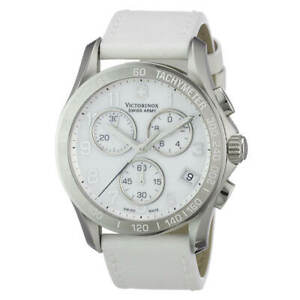 Victorinox-Swiss-Army-Women-039-s-Watch-Chrono-Classic-White-Leather-Strap-241418