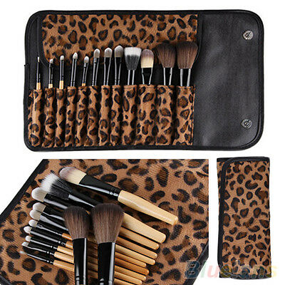 12 PCS Pro Makeup Brush Set Cosmetic Tool Leopard Bag Beauty Brushes