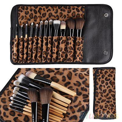 12 PCS Pro Makeup Brush Set Cosmetic Tool Leopard Bag Beauty Brushes