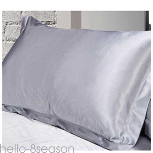 2pcs Silk Pillow case Satin Duvet Cover Silky Fitted Sheet Pillow Cases Cushion~