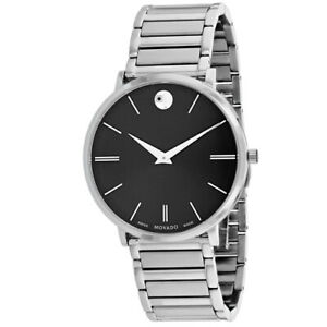 18af4385a72 Movado Men s Ultra Slim 40mm Steel Bracelet   Case Swiss Quartz Watch  0607167