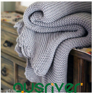 Image Is Loading Soft Knitted Light Grey Throw Rug Couch Lounge