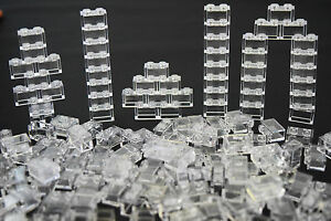 NEW-LEGO-Lot-Of-50-1X2-Bricks-White-Transparent-Clear-Translucent-trans-clea
