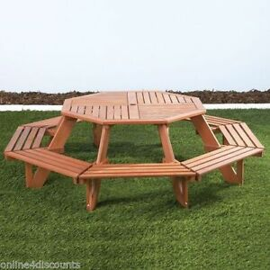 Kids Octagonal Picnic Bench Seats Teak Finish Outdoor Furniture - Picnic table seats 8