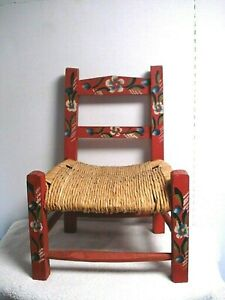 Strange Details About Vtg Antique Child Size Wood Wicker Rush Seat Folk Art Kids Doll Chair Red Floral Lamtechconsult Wood Chair Design Ideas Lamtechconsultcom