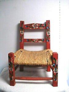 Vtg Antique Child Size Wood Wicker Rush Seat Folk Art Kids