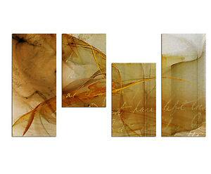 130x70cm Paul Sinus Art 4 teiliges Bild abstrakt - Dekorationside<wbr/>e zeitlos schön