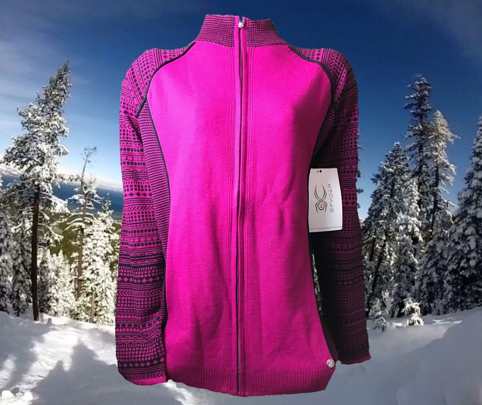 Spyder Dessa Full Zip Merino Wool Blend Ski Sweater Womens XL Nwt