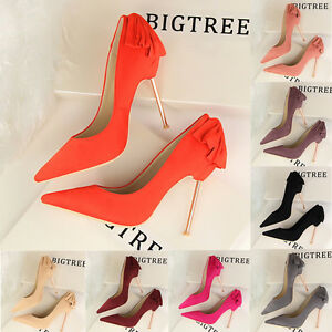 Sexy Women's New Shoes Stilettos Pointed-Toe High Heels Lady Bowknot Pumps Shoes