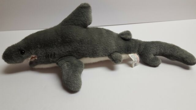 K & M International Inc 18 Inch Realistic Gray Plush Shark Stuffed Animal