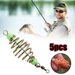 5PCS Wire Method Carp Fishing Feeder Spring Lead Sinkers Swim Feeders Bait Hook