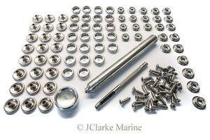 Image is loading 316-Stainless-steel-snap-fastener-kit-canvas-to-  sc 1 st  eBay & 316 Stainless steel snap fastener kit canvas to deck boat canopy ...