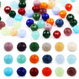 6mm-8mm-Dyed-Faceted-Glass-Beads-Strand-Briolette-Rondelle-Shape-Assorted-Color