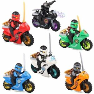 Ninjago-Spielzeug-Ninja-Mini-Figuren-X-6-Fahrraeder-Kai-Cole-Lloyd-Garmadon-JAY-UND-ZANE