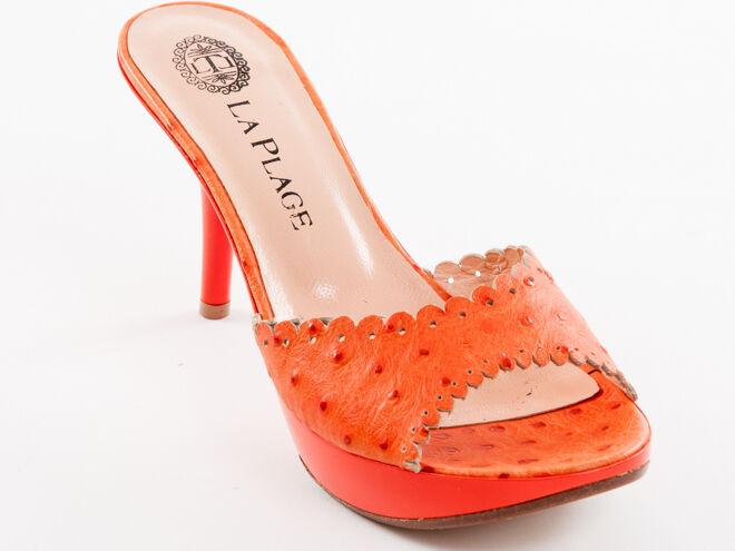 ny La La La Plage orange läder Made in  Sandals Storlek 37 USA 7  försäljning online