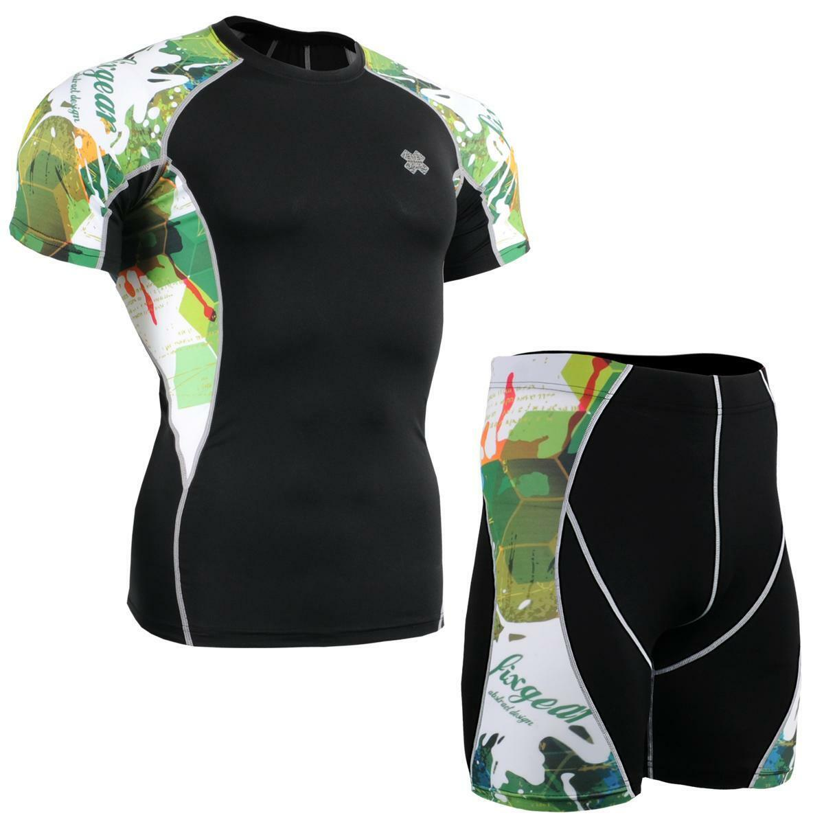 FIXGEAR C2S P2S-B47 SET Compression Shirts & Shorts Skin-tight MMA Training Gym