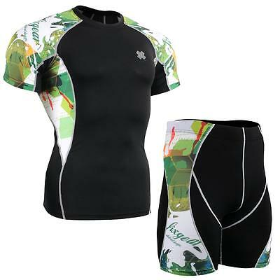 FIXGEAR C2S/P2S-B47 SET Compression Shirts & Shorts Skin-tight MMA Training Gym