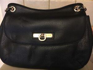 Image Is Loading Dkny Black Leather Handbag With Adjule Gold