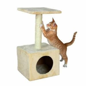 NEW-TRIXIE-ZAMORA-CAT-KITTEN-SCRATCHING-POST-WITH-BED-HIDEOUT-BEIGE-43351
