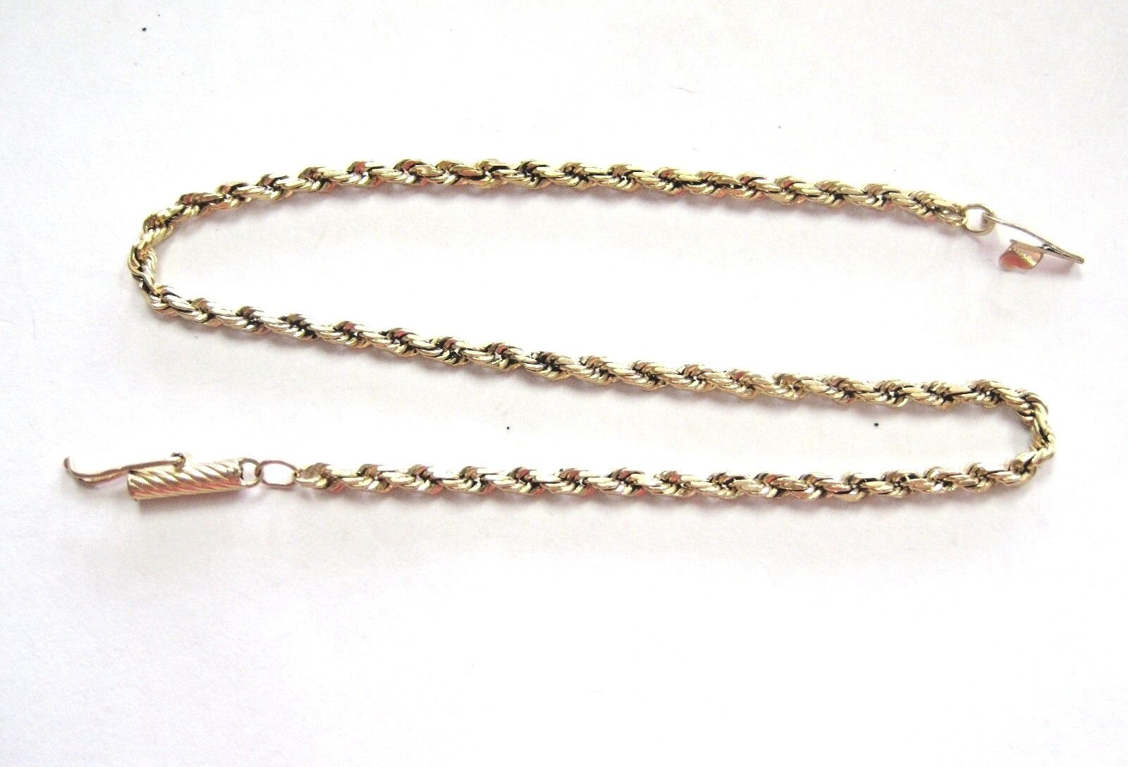 L@@K Beautiful 14K Real Yellow gold Rope Bracelet 8.25  long LADIES Must See