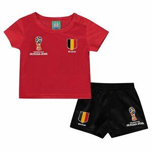Coupe du Monde FIFA 2018 Belgique Mini kit bébés rouge/noir Football Soccer Top Short