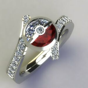 Image Is Loading Pokemon Half Round Pokeball White Red Garnet 925
