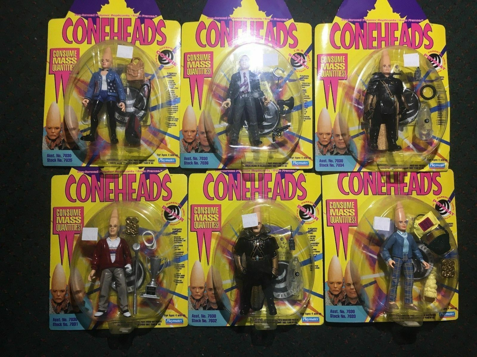 Coneheads Complete 6 Character Figure Set Vintage 1993 Playmates® Toys
