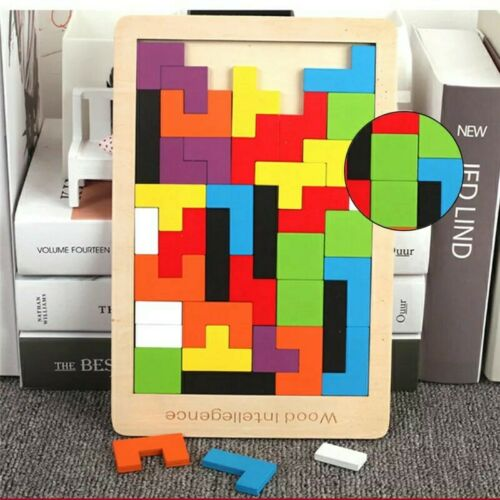 New Colorful 3D Puzzle Wooden Tangram Tetris Intellectual Educational Toy game