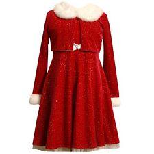 NWT Girls 20 PLUS BONNIE JEAN Sparkling Red Santa Christmas Dress & Jacket 20.5