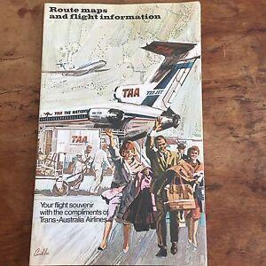 Great Vintage TransAustralia Airlines Flight Souvenir RT Maps S - Vintage aviation maps