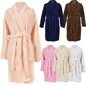 Homme Femme Peignoir Polyester Polaire Poches Uni Confortable Tissu Éponge Robe