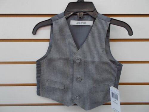 Infant Boys Perry Ellis $45 4pc Gray Striped Vest Suit Size 12 Months-24 Months