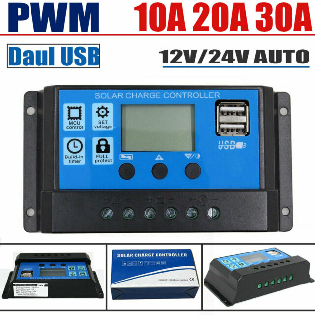Portable 20A Amp Solar Panel Battery Regulator Solar Charger Controller with Digital LCD Screen Display 12//24V Auto USB
