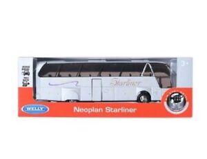 Welly-NEX-Neoplan-starliner-Bus-Silver-1-64-Mini-CarDisplay-NU