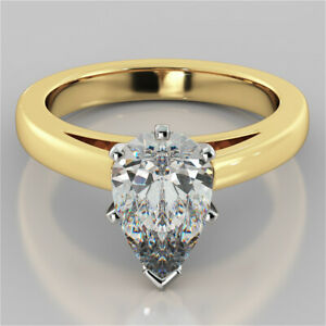 2.00 Ct Pear Moissanite Anniversary Bridal Ring 18K Real Yellow Gold ring Size 8