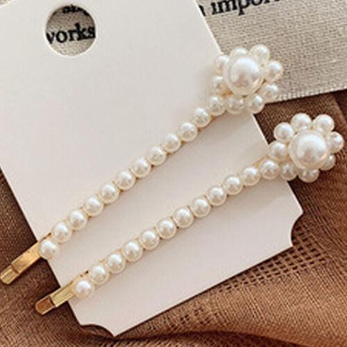 Women Ladies Pearl Hair Clip Hairpin Slide Grip Barrette Party Hair Letter Words