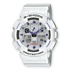 Casio G Shock Analog Digital White Dial White Resin Strap Mens Watch GA100A-7A
